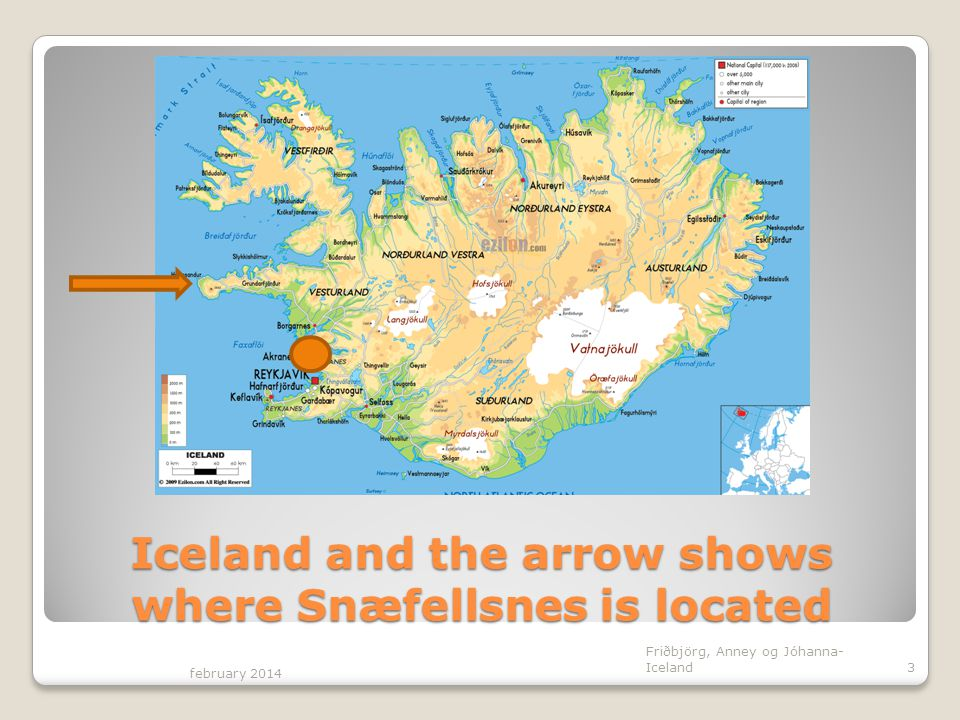 Iceland and the arrow shows where Snæfellsnes is located february 2014 Friðbjörg, Anney og Jóhanna- Iceland3