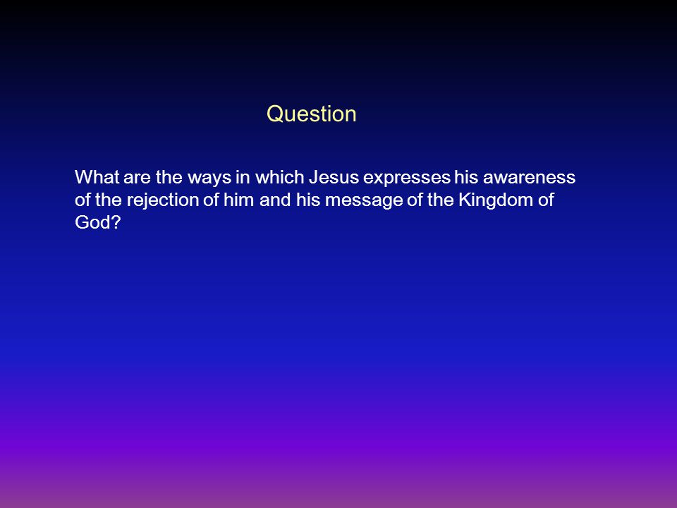 What are the ways in which Jesus expresses his awareness of the rejection of him and his message of the Kingdom of God.