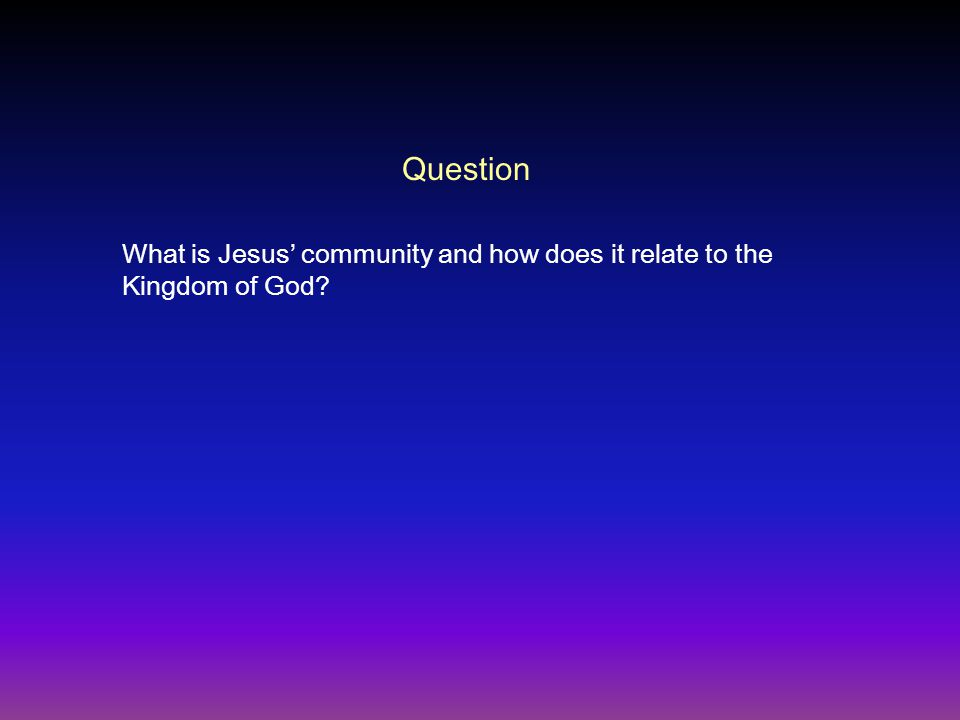 Question What is Jesus' community and how does it relate to the Kingdom of God