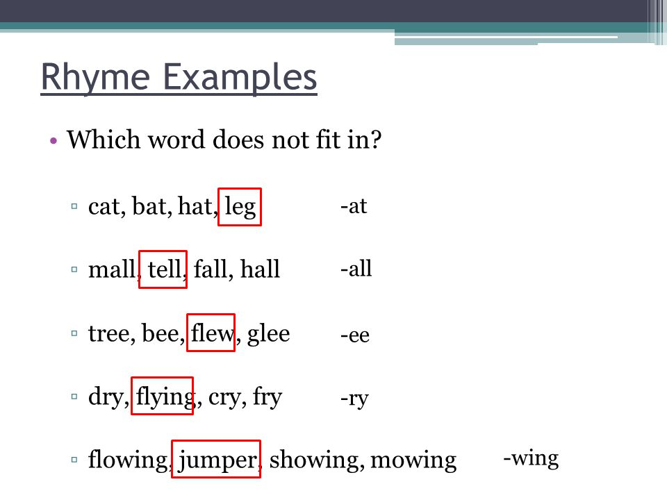 Rhyme Examples Which word does not fit in.