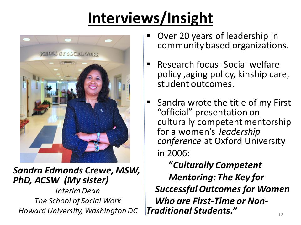 Interviews/Insight Sandra Edmonds Crewe, MSW, PhD, ACSW (My sister) Interim Dean The School of Social Work Howard University, Washington DC  Over 20 years of leadership in community based organizations.