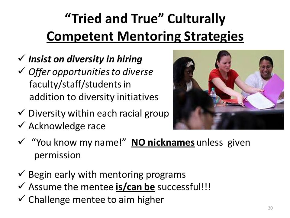 Tried and True Culturally Competent Mentoring Strategies Insist on diversity in hiring Offer opportunities to diverse faculty/staff/students in addition to diversity initiatives Diversity within each racial group Acknowledge race You know my name! NO nicknames unless given permission Begin early with mentoring programs Assume the mentee is/can be successful!!.