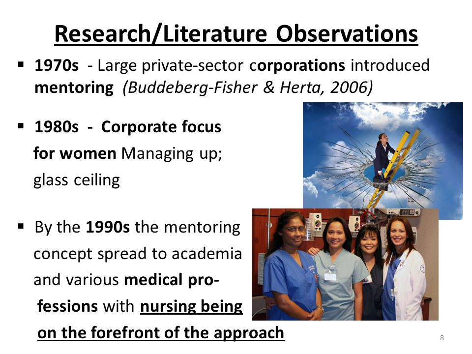 Research/Literature Observations  1970s - Large private-sector corporations introduced mentoring (Buddeberg-Fisher & Herta, 2006)  1980s - Corporate focus for women Managing up; glass ceiling  By the 1990s the mentoring concept spread to academia and various medical pro- fessions with nursing being on the forefront of the approach 8