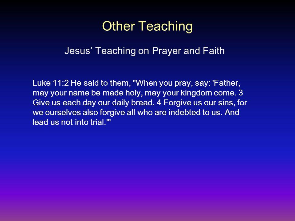 Jesus' Teaching on Prayer and Faith Luke 11:2 He said to them,