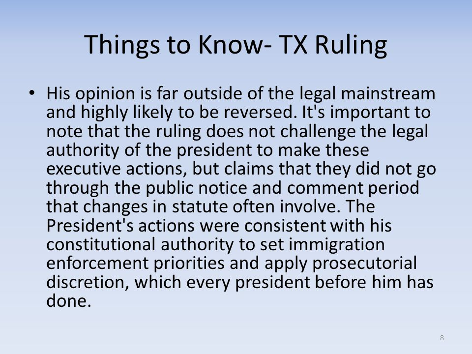 Things to Know- TX Ruling His opinion is far outside of the legal mainstream and highly likely to be reversed. It's important to note that the ruling