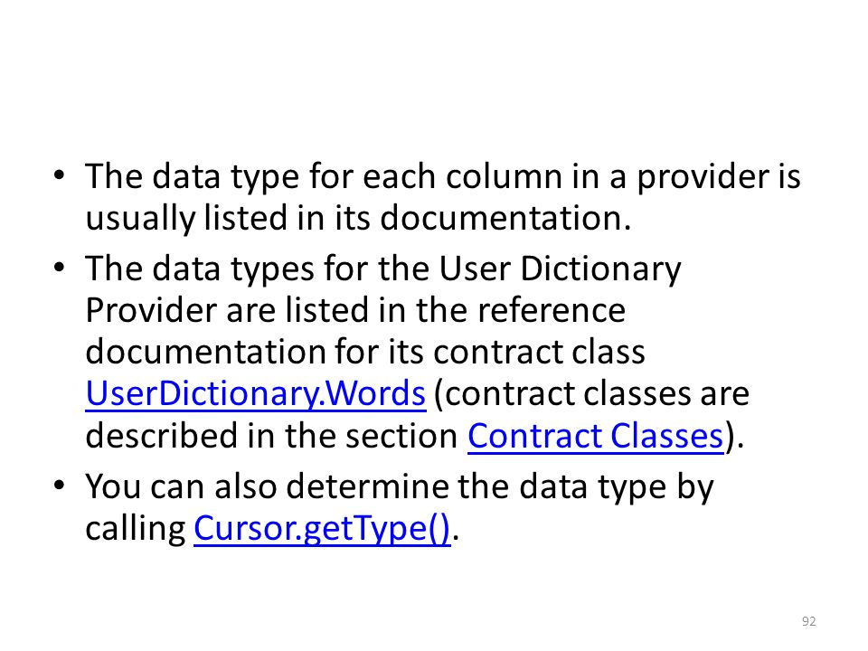 The data type for each column in a provider is usually listed in its documentation.
