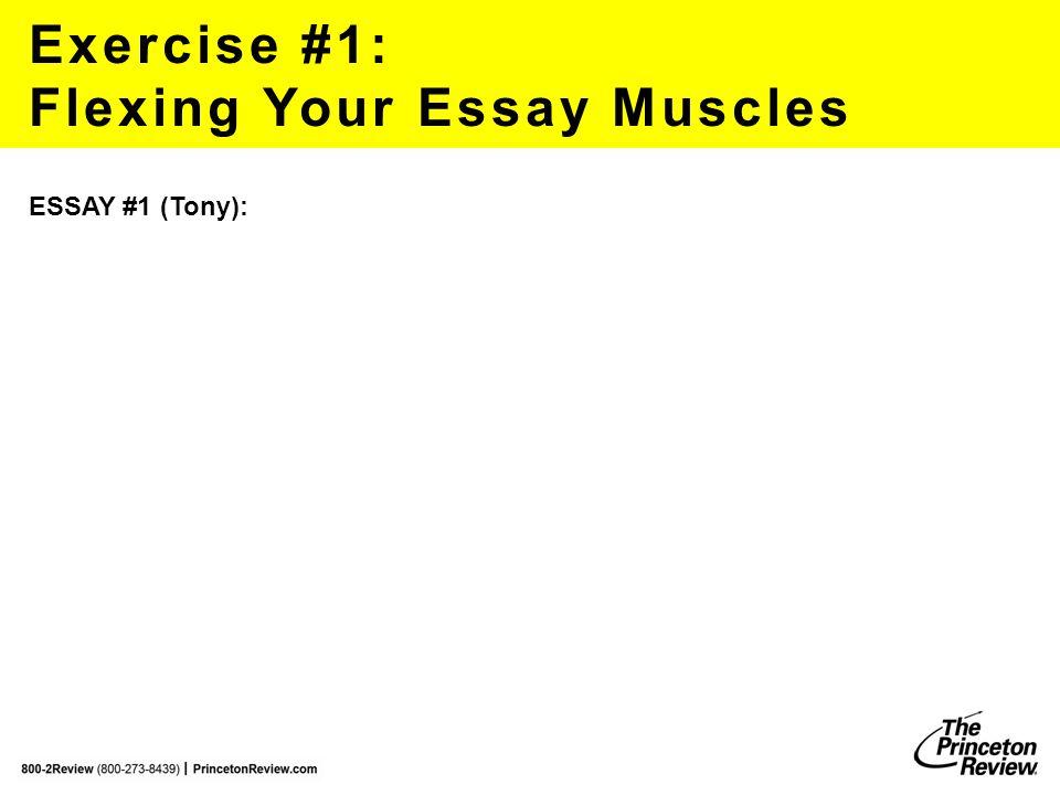 Exercise #1: Flexing Your Essay Muscles robertf@review.com ESSAY #1 (Tony):