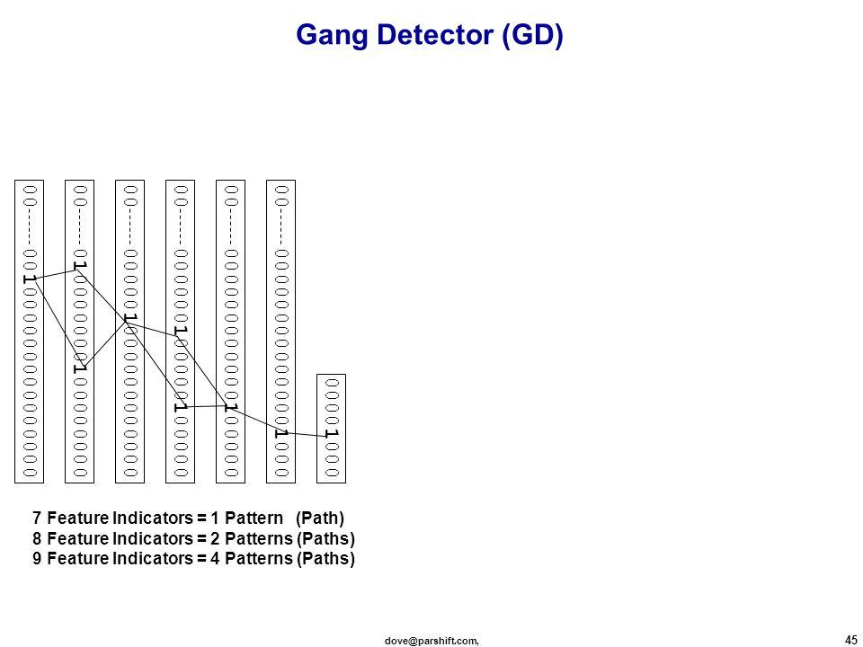 dove@parshift.com, 45 00 ≈ 00000000000000100000 ≈ 00000000000010000000 ≈ 00000010000010000000 ≈ 00000100000000000000 ≈ 01000000010000000000 ≈ 001000000000000000 00001000 7 Feature Indicators = 1 Pattern (Path) 8 Feature Indicators = 2 Patterns (Paths) 9 Feature Indicators = 4 Patterns (Paths) Gang Detector (GD)