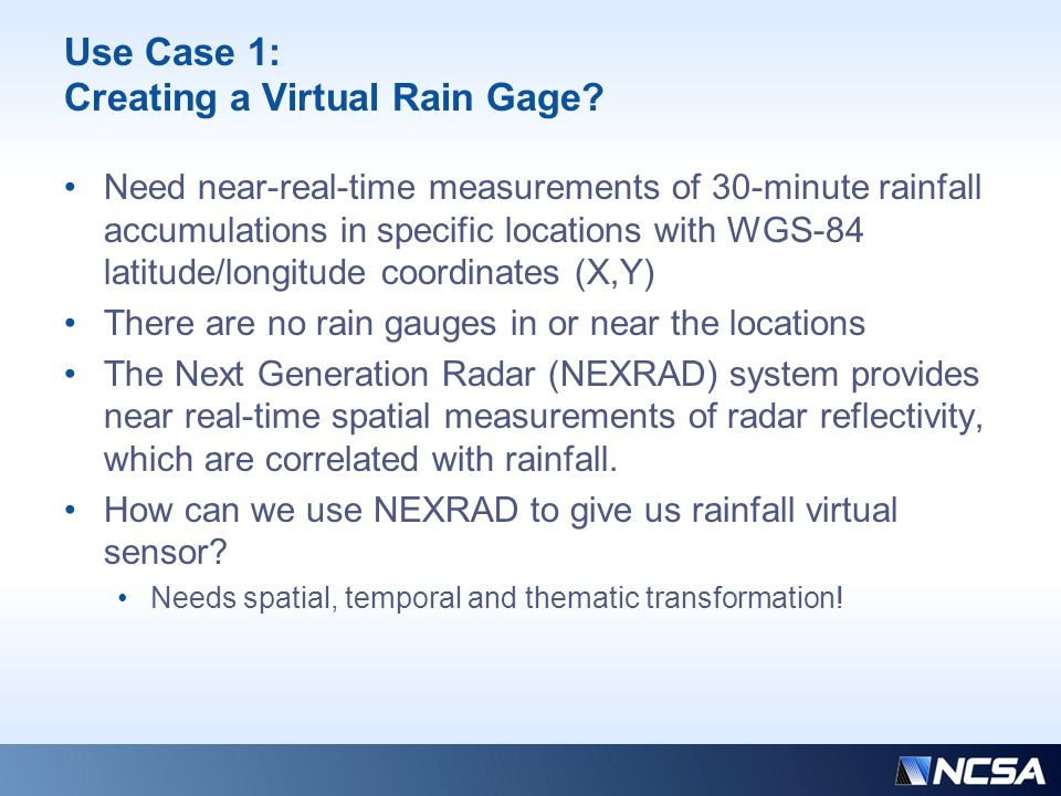 Use Case 1: Creating a Virtual Rain Gage? Need near-real-time measurements of 30-minute rainfall accumulations in specific locations with WGS-84 latit