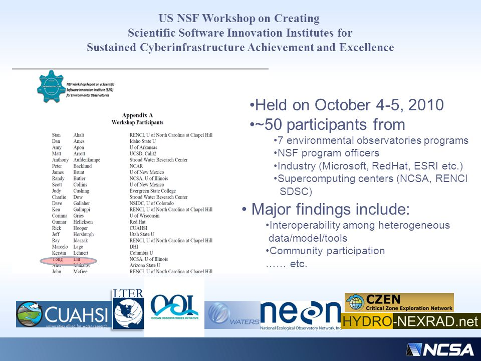 US NSF Workshop on Creating Scientific Software Innovation Institutes for Sustained Cyberinfrastructure Achievement and Excellence Held on October 4-5, 2010 ~50 participants from 7 environmental observatories programs NSF program officers Industry (Microsoft, RedHat, ESRI etc.) Supercomputing centers (NCSA, RENCI SDSC) Major findings include: Interoperability among heterogeneous data/model/tools Community participation …… etc.