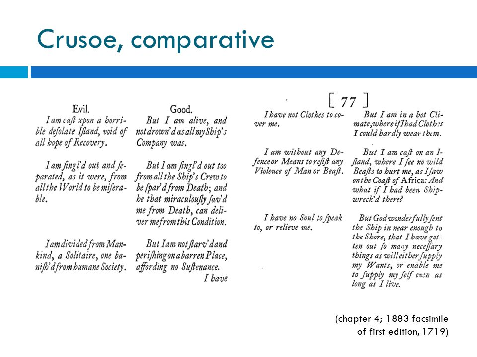 Crusoe, comparative (chapter 4; 1883 facsimile of first edition, 1719)