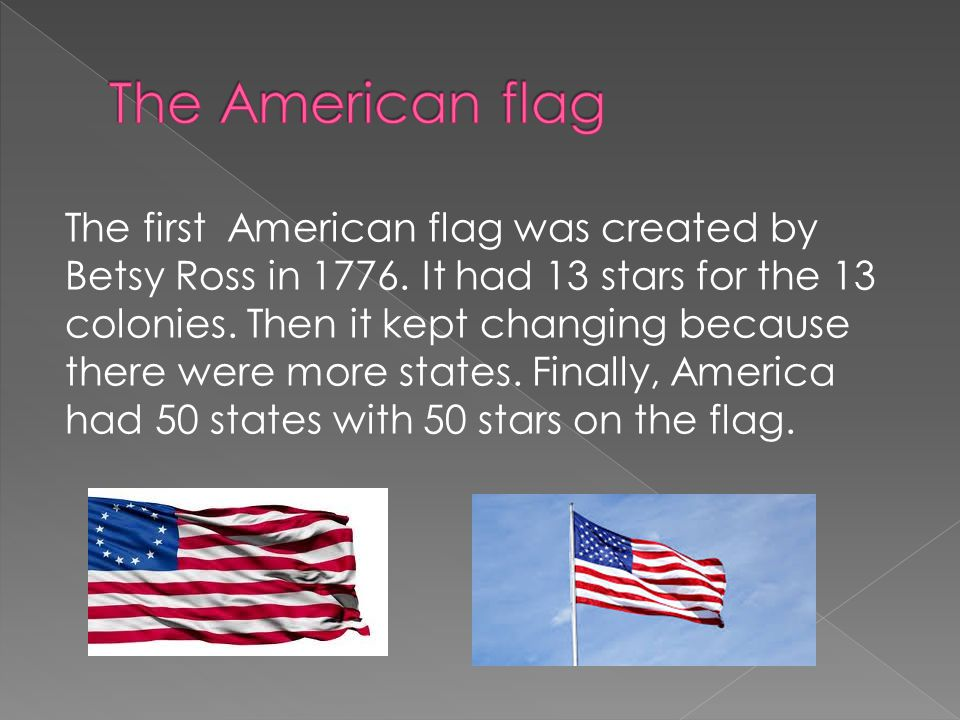 The first American flag was created by Betsy Ross in 1776.
