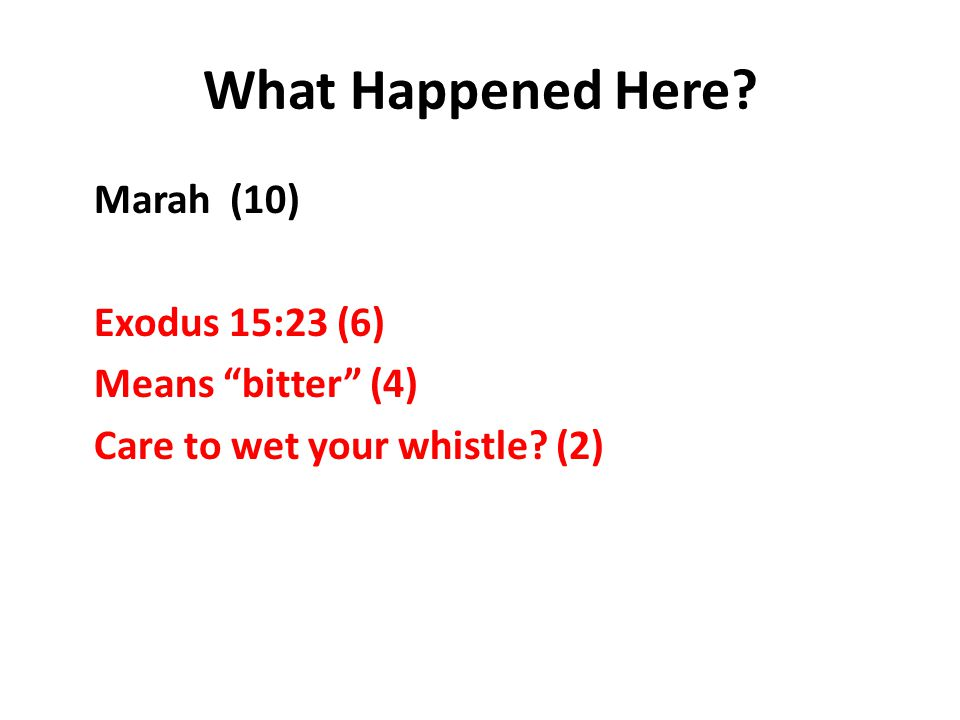 What Happened Here Marah (10) Exodus 15:23 (6) Means bitter (4) Care to wet your whistle (2)