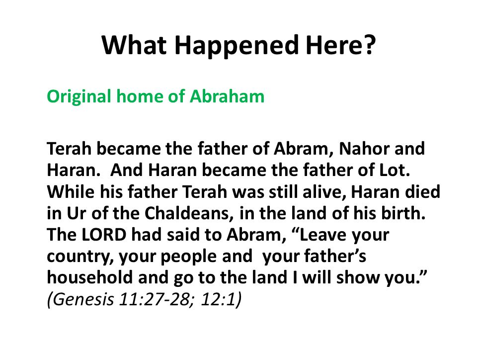 What Happened Here. Original home of Abraham Terah became the father of Abram, Nahor and Haran.