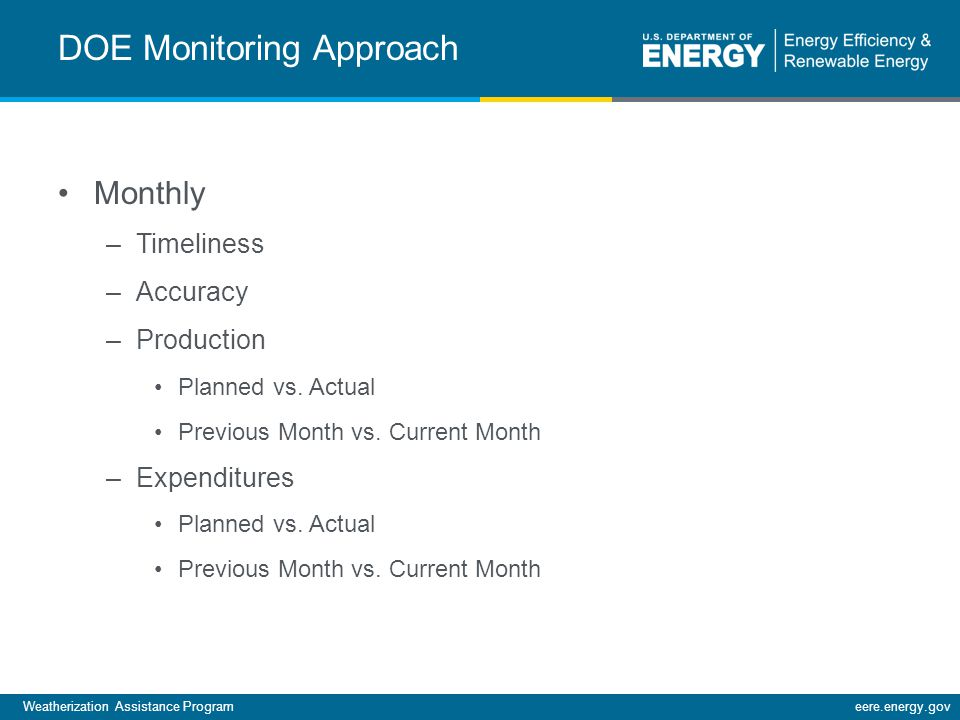Weatherization Assistance Programeere.energy.gov DOE Monitoring Approach Monthly –Timeliness –Accuracy –Production Planned vs.