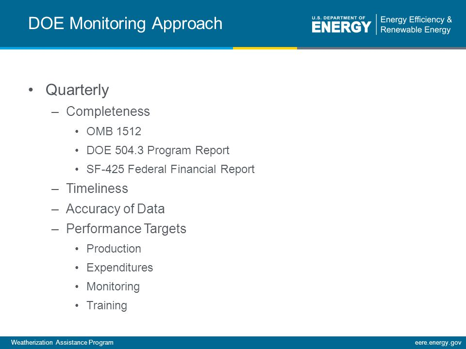 Weatherization Assistance Programeere.energy.gov DOE Monitoring Approach Quarterly –Completeness OMB 1512 DOE 504.3 Program Report SF-425 Federal Financial Report –Timeliness –Accuracy of Data –Performance Targets Production Expenditures Monitoring Training