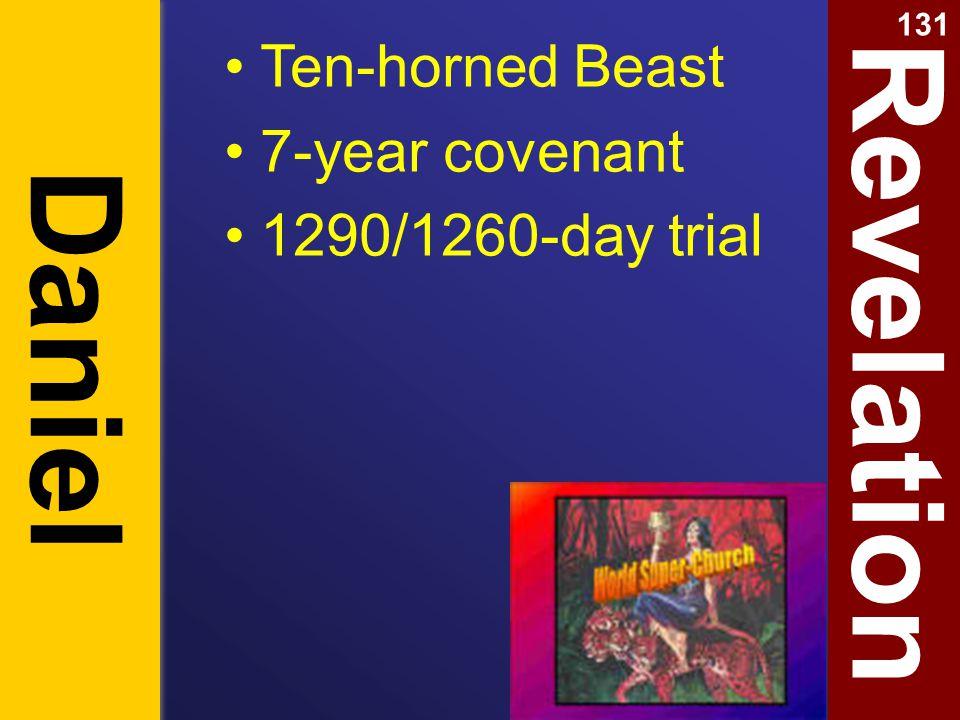 Revelation Daniel Ten-horned Beast 7-year covenant 1290/1260-day trial 131