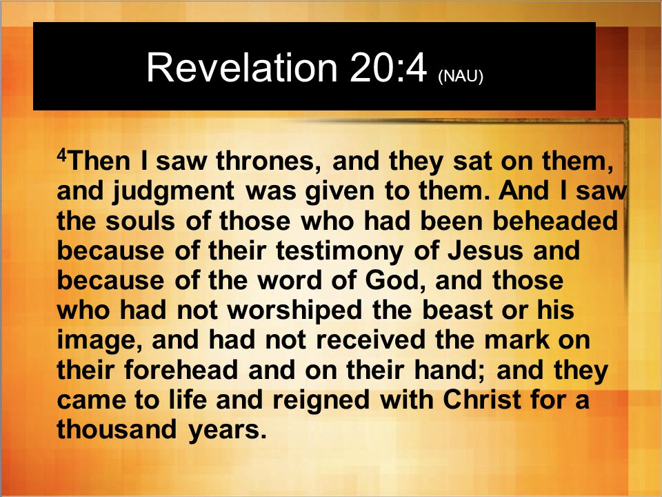 Revelation 20:4 (NAU) 4 Then I saw thrones, and they sat on them, and judgment was given to them.