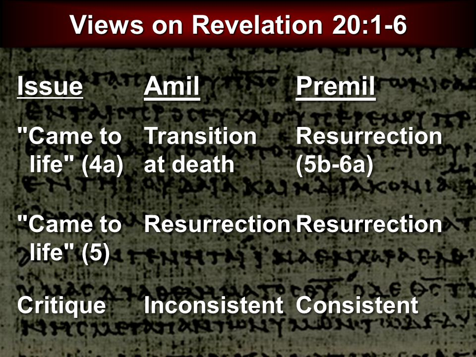 Amil Views on Revelation 20:1-6 Premil Transition at death Resurrection (5b-6a) Resurrection Inconsistent Consistent Issue Came to life (4a) Came to life (5) Critique 427
