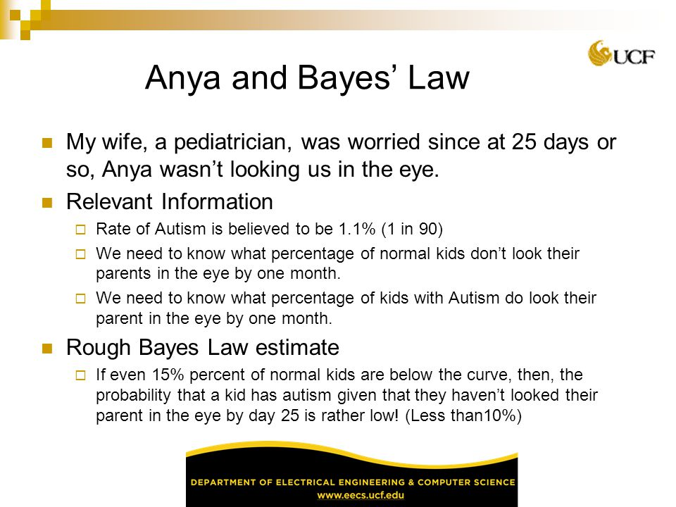 Anya and Bayes' Law My wife, a pediatrician, was worried since at 25 days or so, Anya wasn't looking us in the eye.