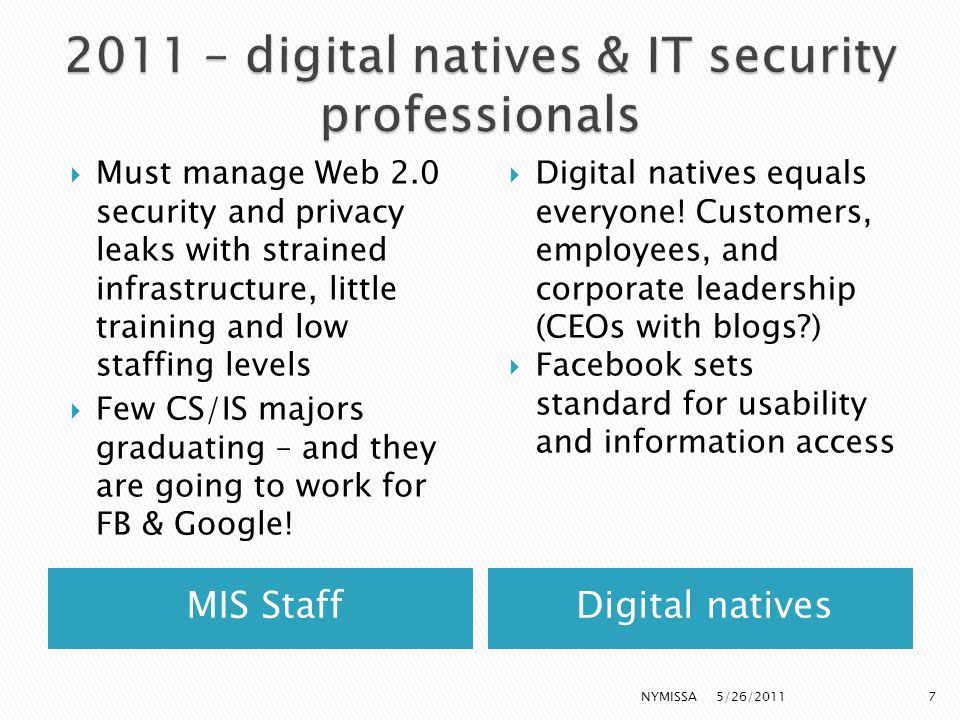 MIS StaffDigital natives  Must manage Web 2.0 security and privacy leaks with strained infrastructure, little training and low staffing levels  Few CS/IS majors graduating – and they are going to work for FB & Google.