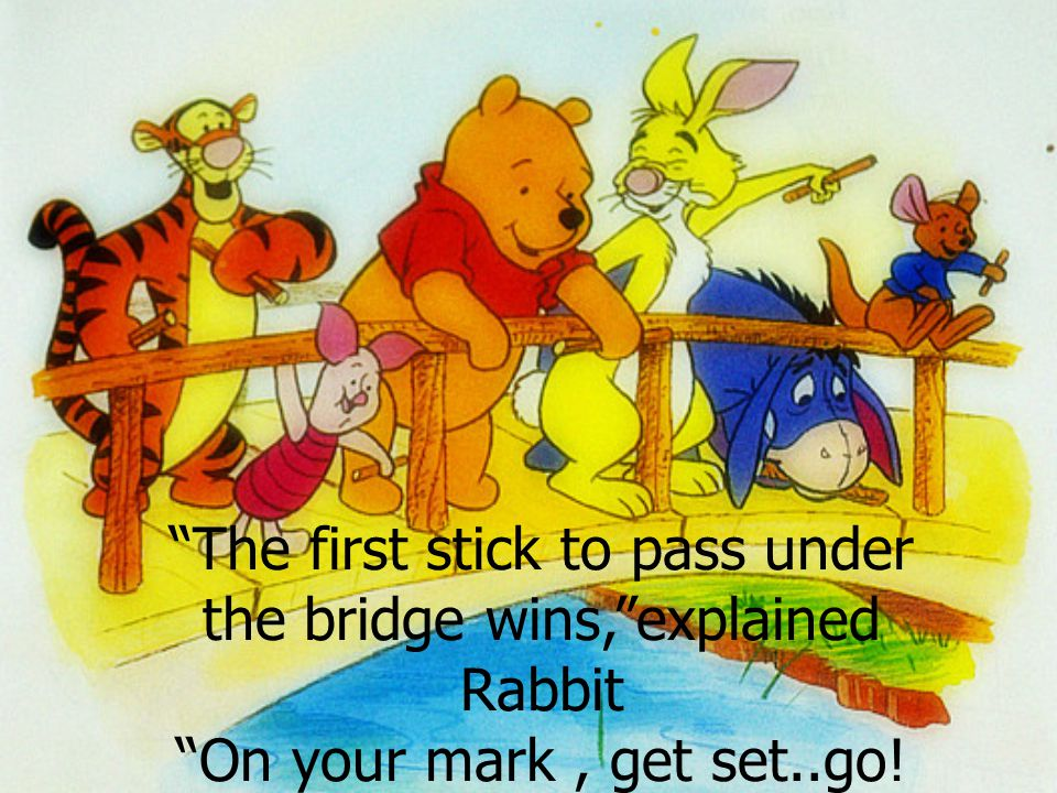 Pooh,Piglet,Rabbit,Roo and Eeyore threw their sticks into the water