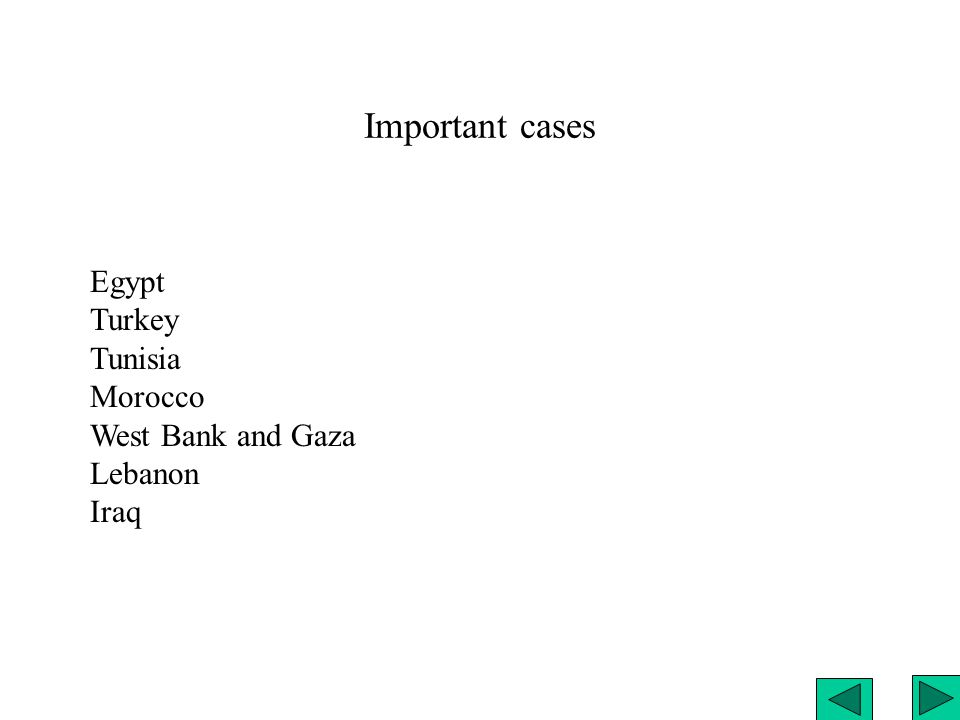 Important cases Egypt Turkey Tunisia Morocco West Bank and Gaza Lebanon Iraq