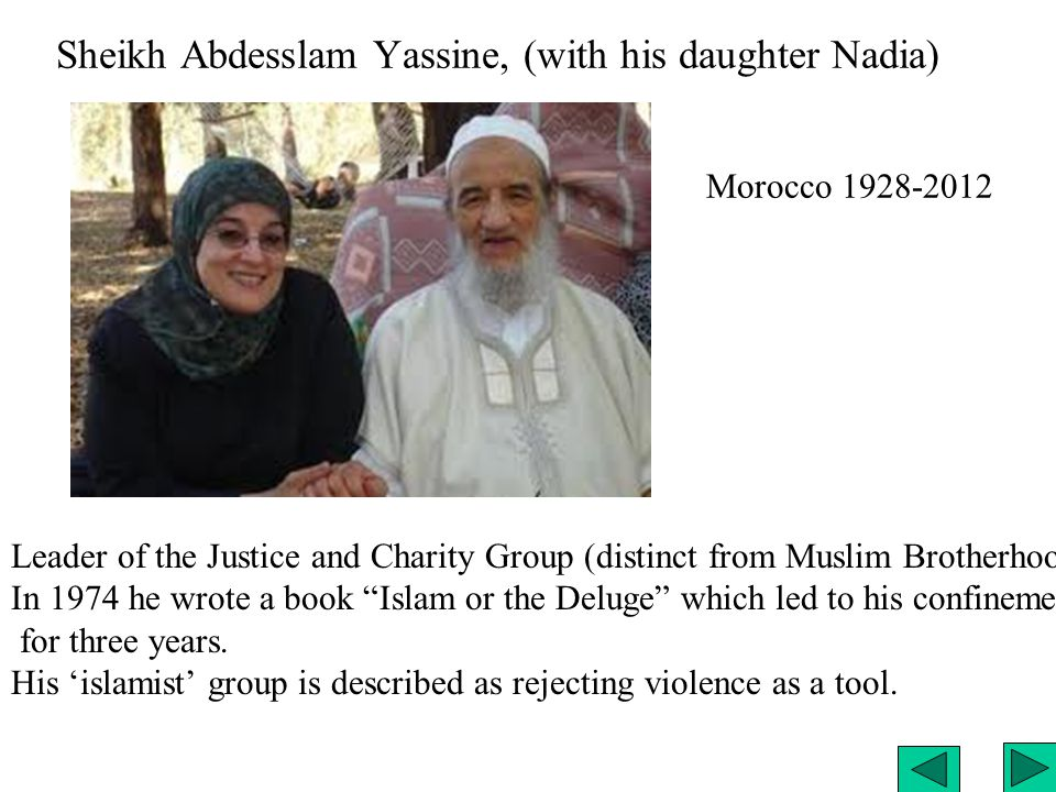Sheikh Abdesslam Yassine, (with his daughter Nadia) Leader of the Justice and Charity Group (distinct from Muslim Brotherhood.