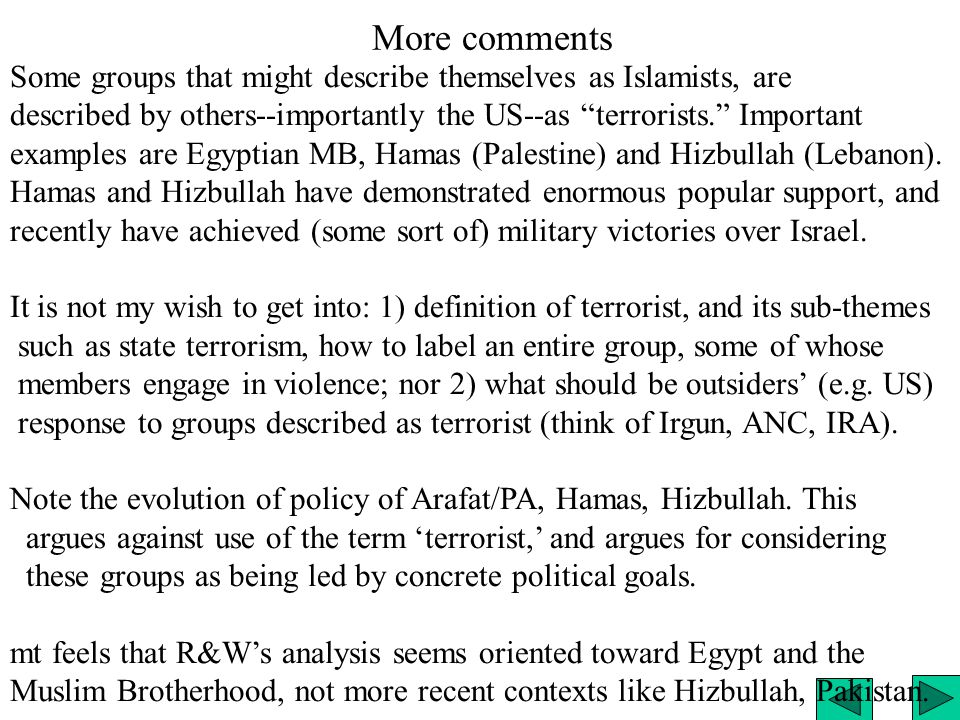 More comments Some groups that might describe themselves as Islamists, are described by others--importantly the US--as terrorists. Important examples are Egyptian MB, Hamas (Palestine) and Hizbullah (Lebanon).
