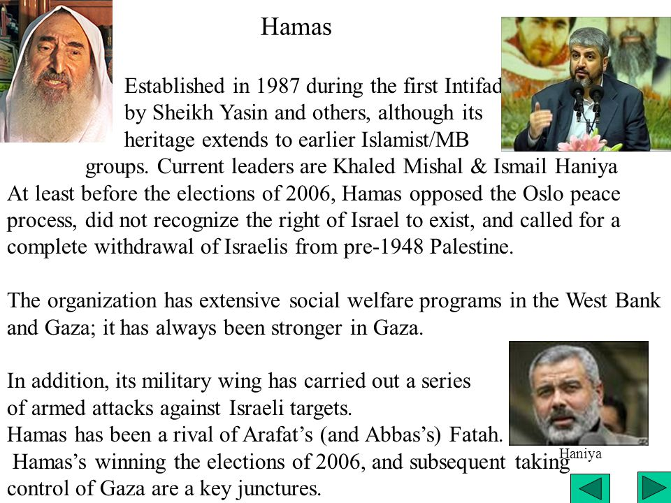 Hamas Established in 1987 during the first Intifada by Sheikh Yasin and others, although its heritage extends to earlier Islamist/MB groups.