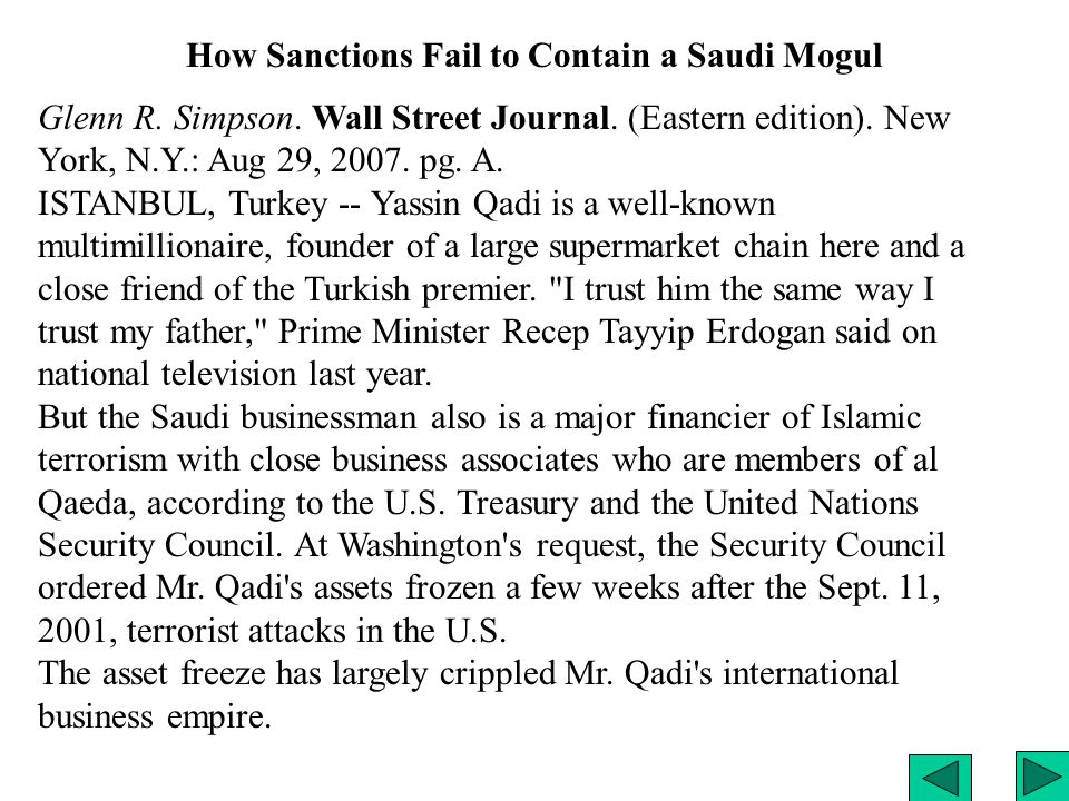 How Sanctions Fail to Contain a Saudi Mogul Glenn R.