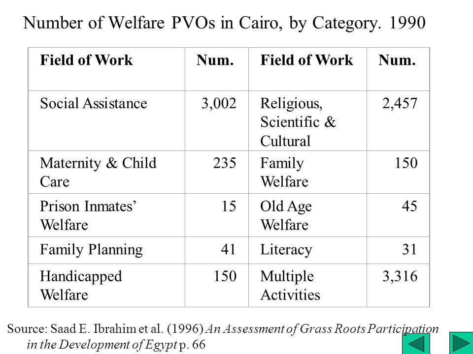 Number of Welfare PVOs in Cairo, by Category. 1990 Field of WorkNum.Field of WorkNum.