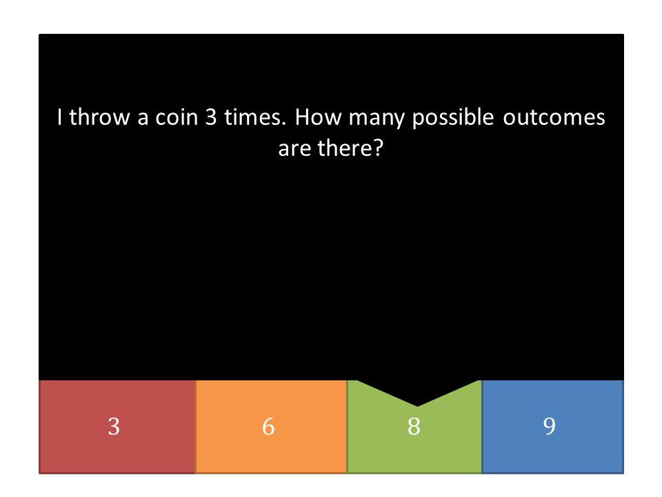 I throw a coin 3 times. How many possible outcomes are there