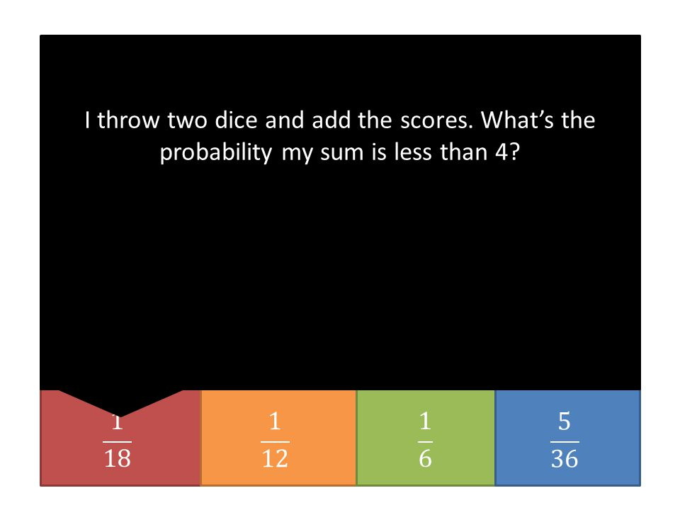 I throw two dice and add the scores. What's the probability my sum is less than 4