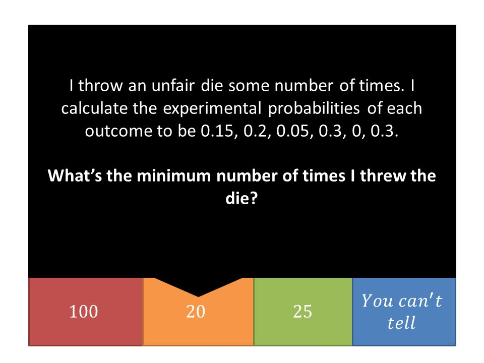 I throw an unfair die some number of times.