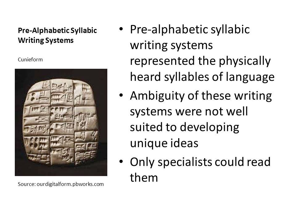 Pre-Alphabetic Syllabic Writing Systems Pre-alphabetic syllabic writing systems represented the physically heard syllables of language Ambiguity of th