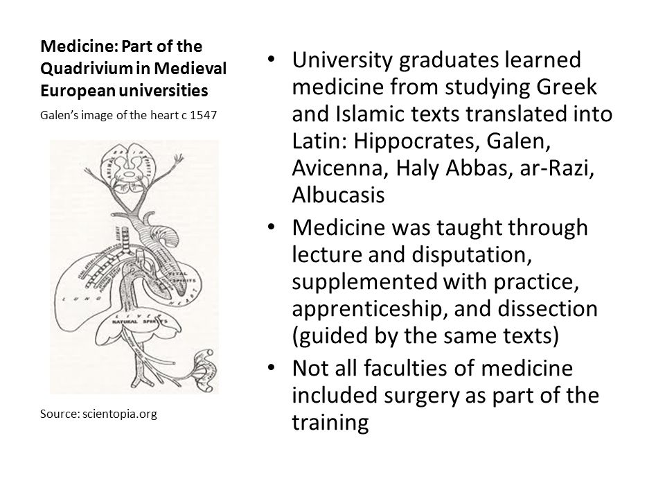Medicine: Part of the Quadrivium in Medieval European universities University graduates learned medicine from studying Greek and Islamic texts transla