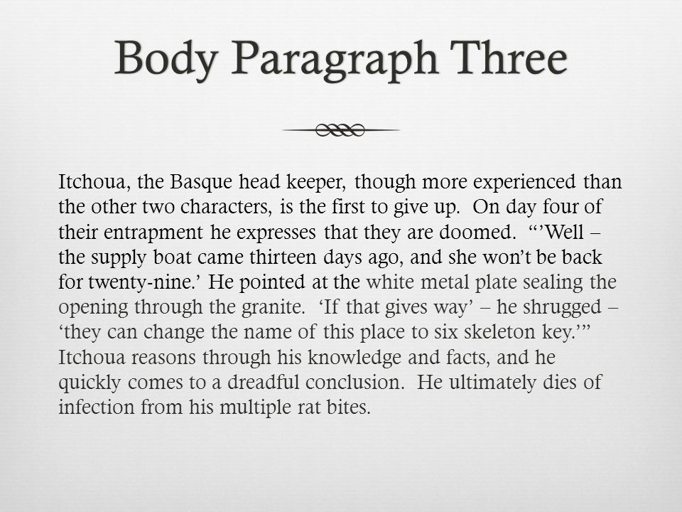 Body Paragraph ThreeBody Paragraph Three Itchoua, the Basque head keeper, though more experienced than the other two characters, is the first to give up.
