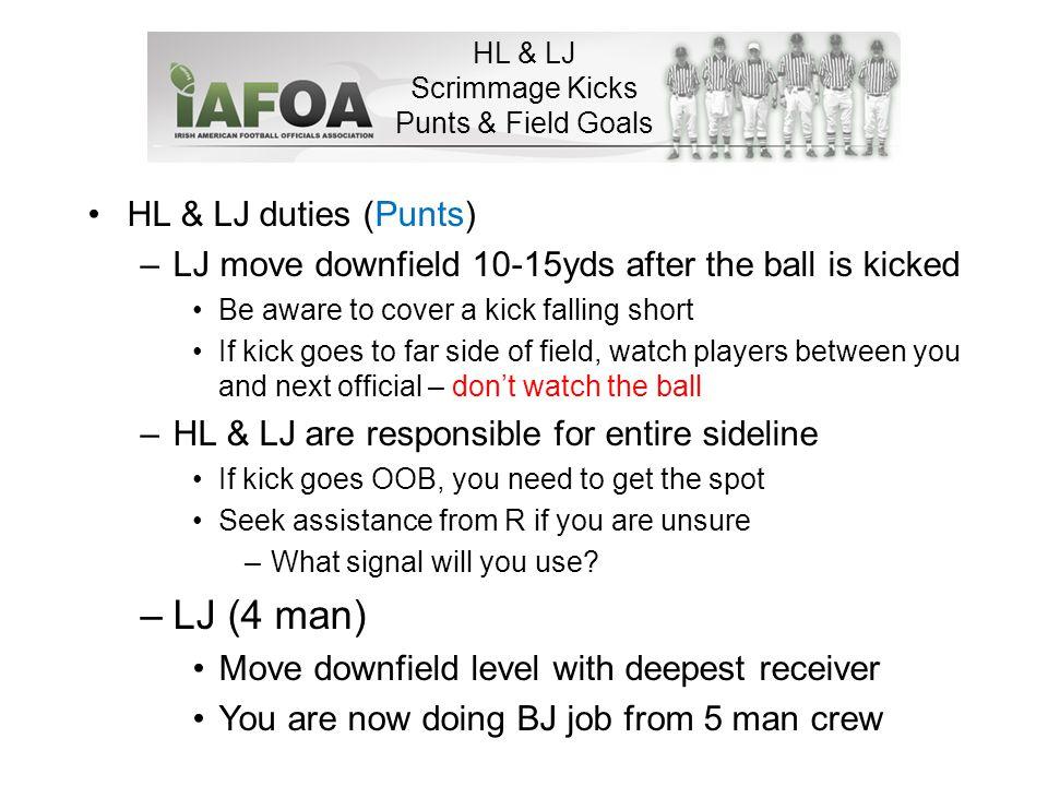 HL & LJ Scrimmage Kicks Punts & Field Goals Back to Umpire Back to Back Judge