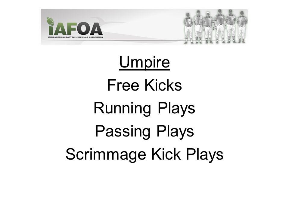 Umpire Free Kicks Running Plays Passing Plays Scrimmage Kick Plays