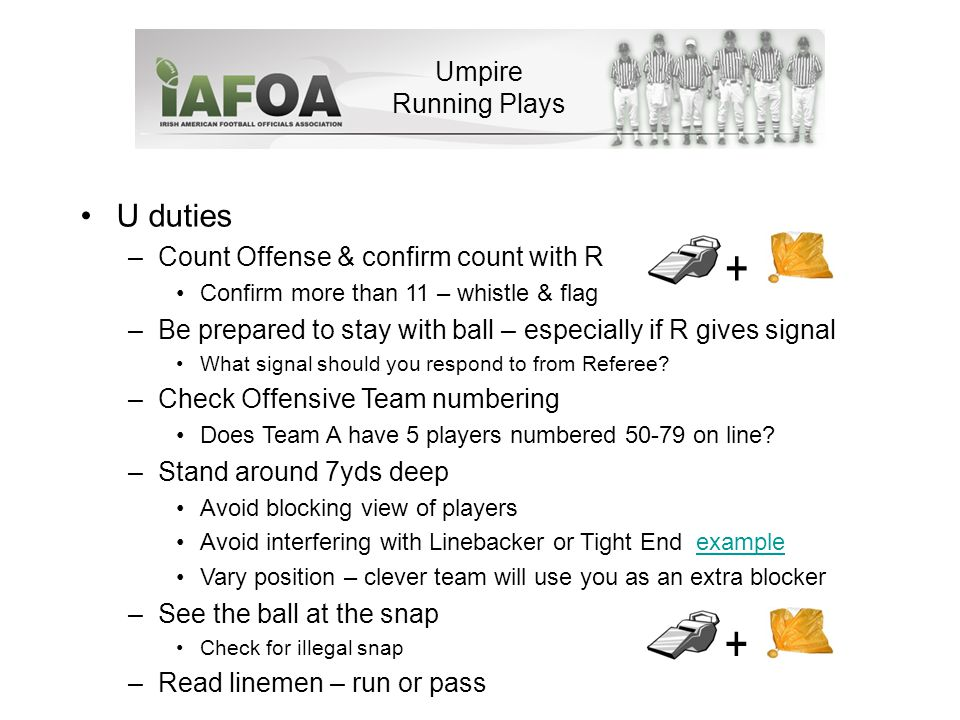 Umpire Running Plays U duties –Count Offense & confirm count with R Confirm more than 11 – whistle & flag –Be prepared to stay with ball – especially if R gives signal What signal should you respond to from Referee.