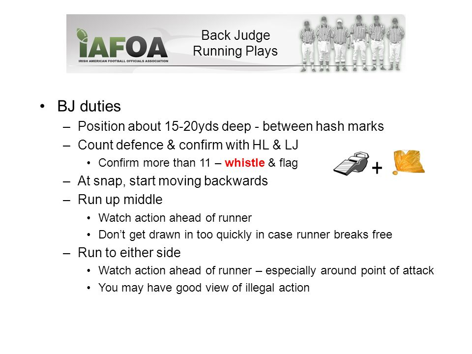 Back Judge Running Plays BJ duties –Position about 15-20yds deep - between hash marks –Count defence & confirm with HL & LJ Confirm more than 11 – whistle & flag –At snap, start moving backwards –Run up middle Watch action ahead of runner Don't get drawn in too quickly in case runner breaks free –Run to either side Watch action ahead of runner – especially around point of attack You may have good view of illegal action +