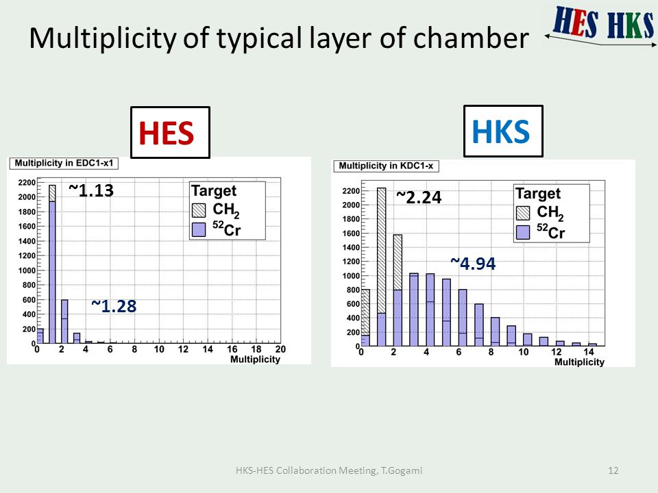 Multiplicity of typical layer of chamber HES HKS ~1.13 ~1.28 ~2.24 ~4.94 HKS-HES Collaboration Meeting, T.Gogami12