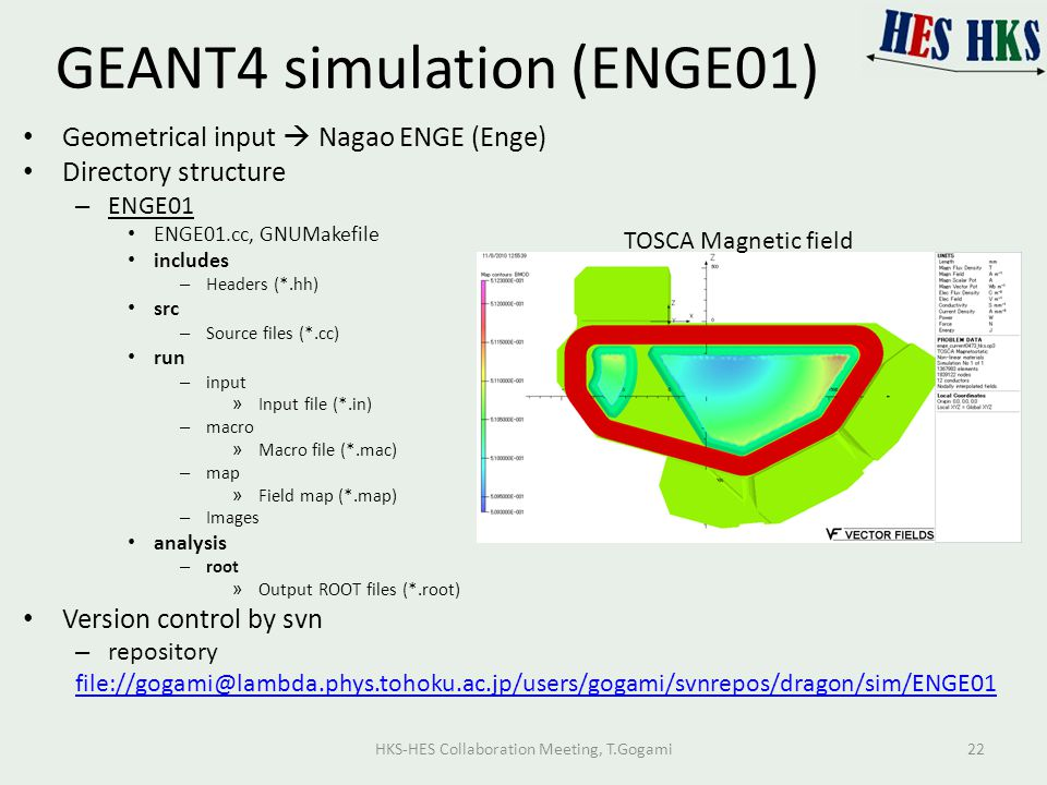 GEANT4 simulation (ENGE01) Geometrical input  Nagao ENGE (Enge) Directory structure – ENGE01 ENGE01.cc, GNUMakefile includes – Headers (*.hh) src – Source files (*.cc) run – input » Input file (*.in) – macro » Macro file (*.mac) – map » Field map (*.map) – Images analysis – root » Output ROOT files (*.root) Version control by svn – repository file://gogami@lambda.phys.tohoku.ac.jp/users/gogami/svnrepos/dragon/sim/ENGE01 TOSCA Magnetic field HKS-HES Collaboration Meeting, T.Gogami22