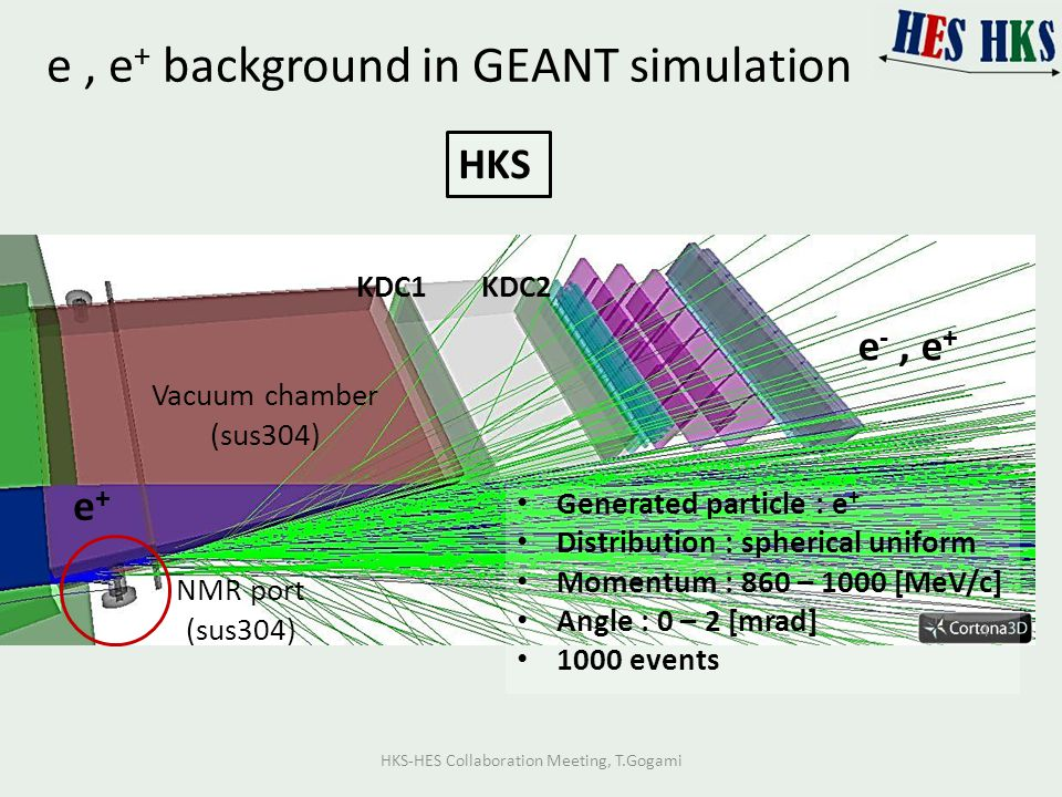 e, e + background in GEANT simulation Vacuum chamber (sus304) NMR port (sus304) KDC1KDC2 e -, e + Generated particle : e + Distribution : spherical un