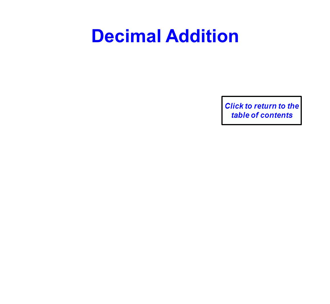 Decimal Addition Click to return to the table of contents