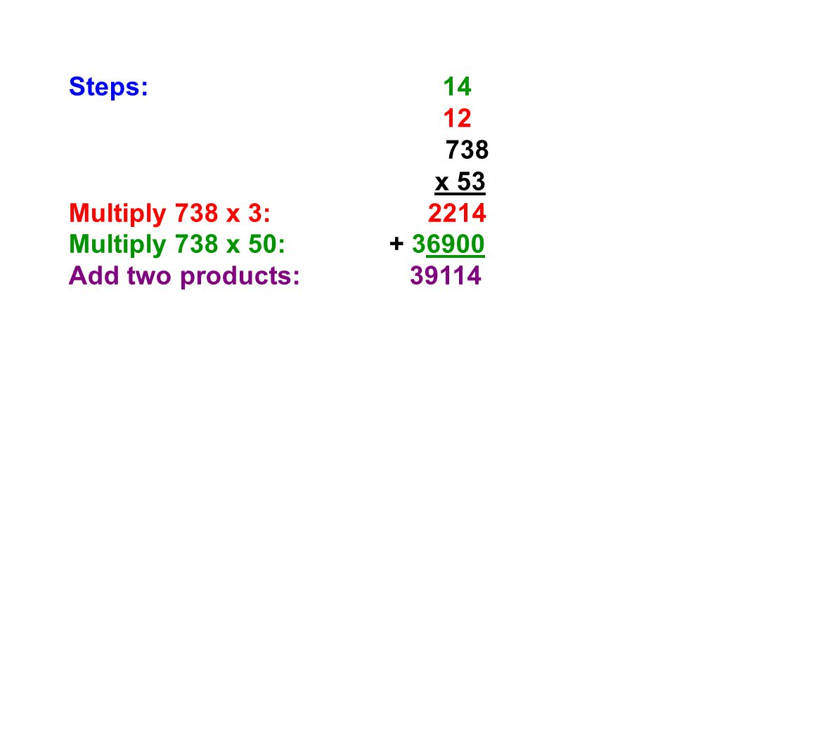 Steps: 14 12 738 x 53 Multiply 738 x 3: 2214 Multiply 738 x 50: + 36900 Add two products: 39114