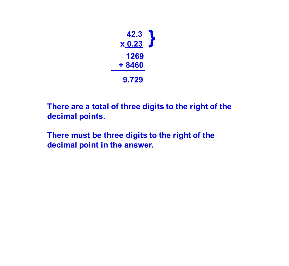 42.3 x 0.23 1269 9.729 There are a total of three digits to the right of the decimal points.