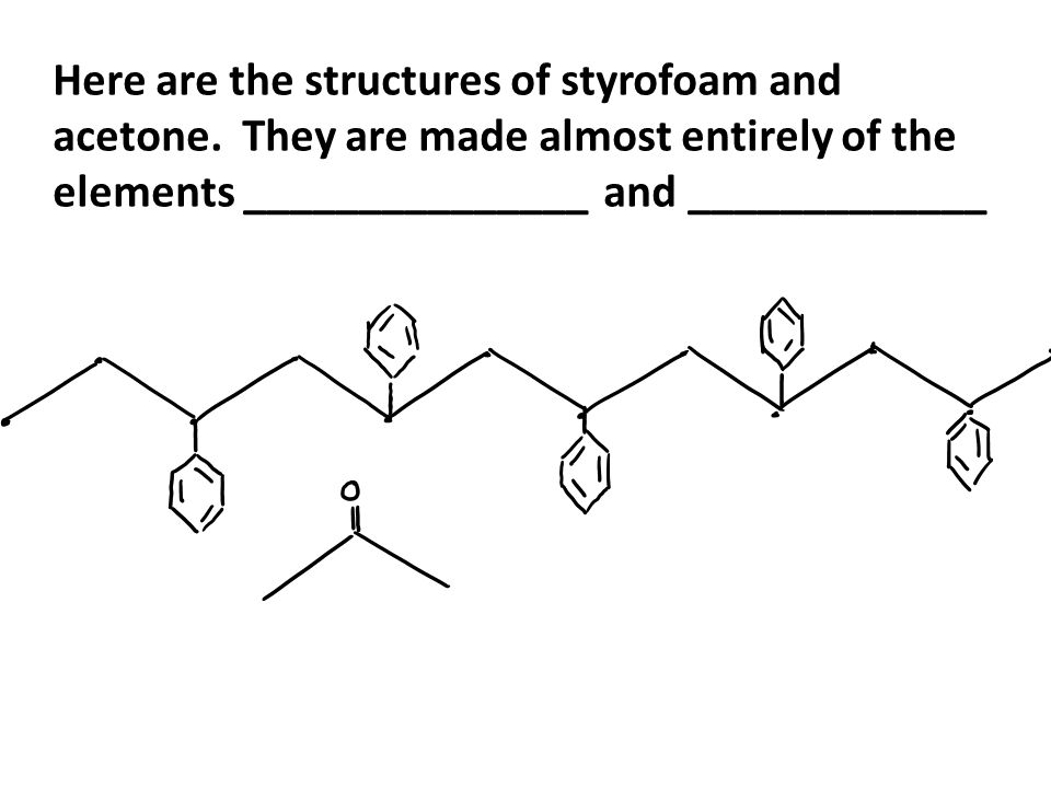 Here are the structures of styrofoam and acetone.