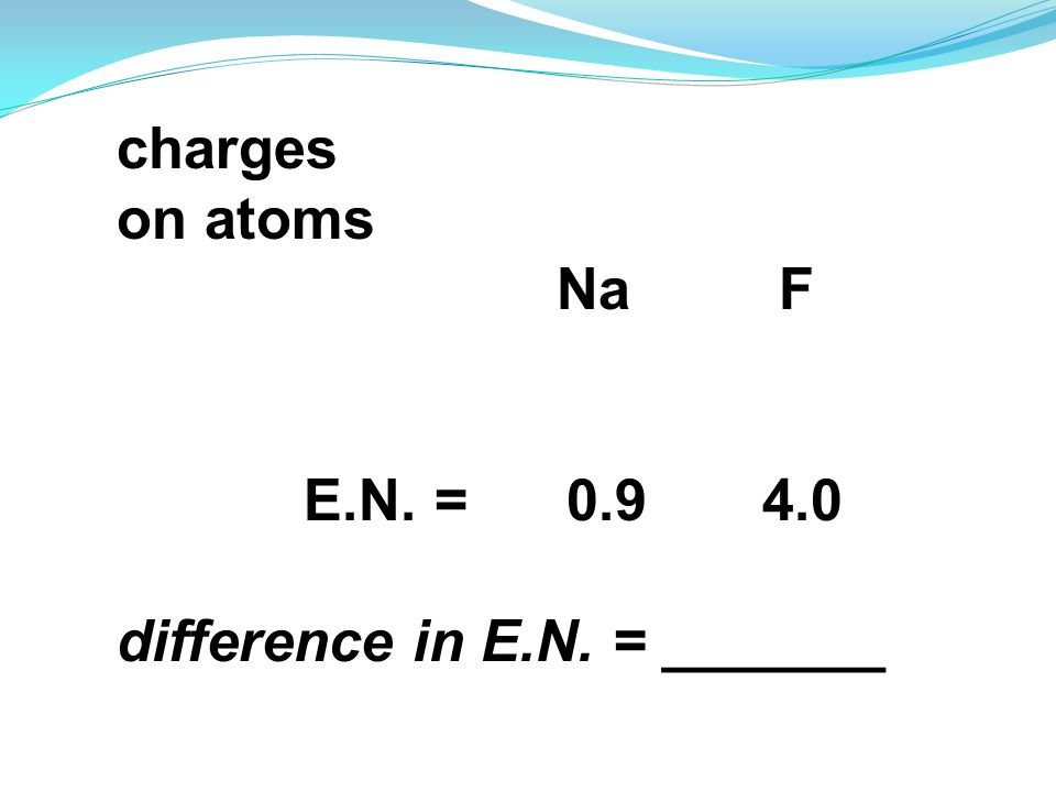 charges on atoms Na F E.N. = 0.9 4.0 difference in E.N. = _______